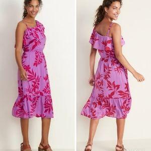 NWT purple pink tropical leaf print sun dress